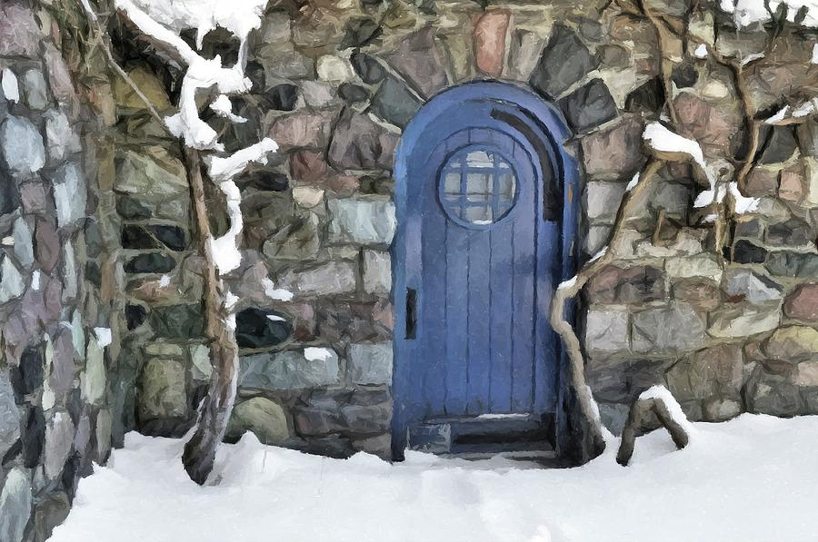 Cranbrook Photograph - Blue Door In February by Chris Fleming
