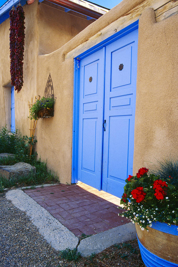 Adobe Photograph - Blue Door Of An Adobe Building Taos New Mexico by George Oze