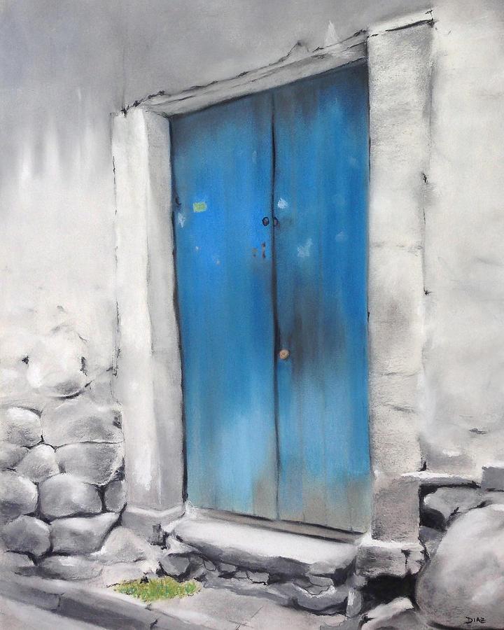 Blue Door Pastel - Blue Door Cusco Peru by Carrie Diaz