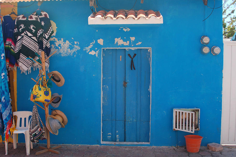 Doors Photograph - Blue Doors In Mexico by Mary Pearson