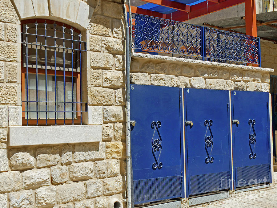 Middle East Photograph - Blue Doors by Maxine Kamin