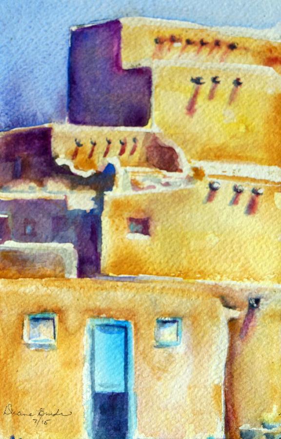Taos Pueblo Painting - Blue Doors of the Taos Pueblo by Diane Binder
