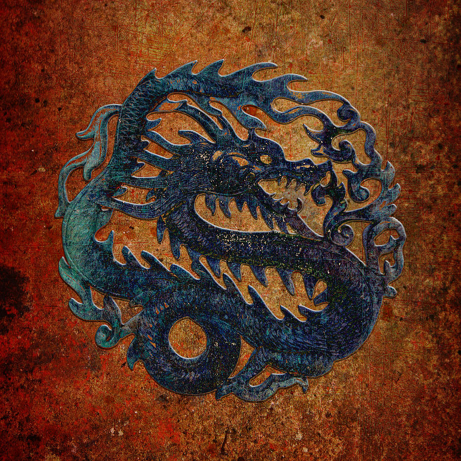 Blue Dragon Carving on a Red, and Yellow Background by Fred Bertheas