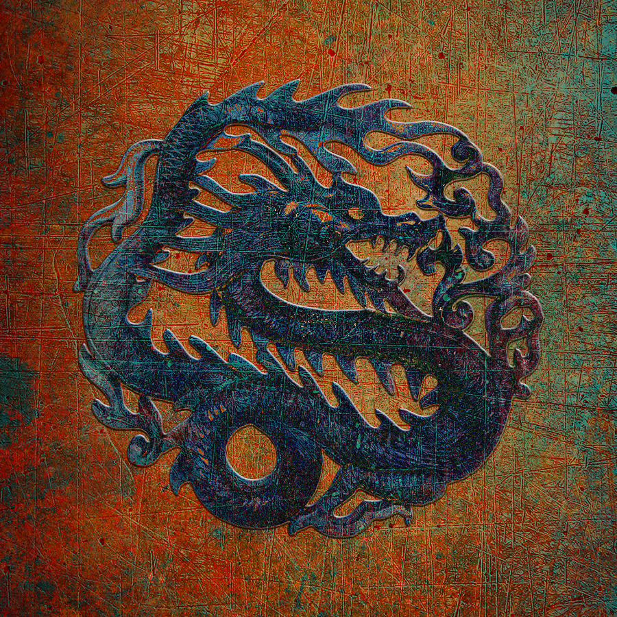 Blue Dragon Carving on a Red, Yellow and Green Background by Fred Bertheas