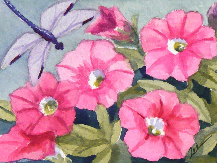 Blue Dragonfly and Petunias by Janet Zeh