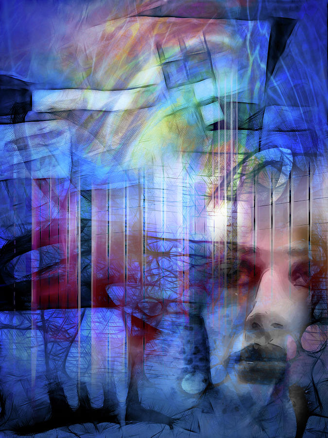 Vision Digital Art - Blue Drama Vision by Lutz Baar