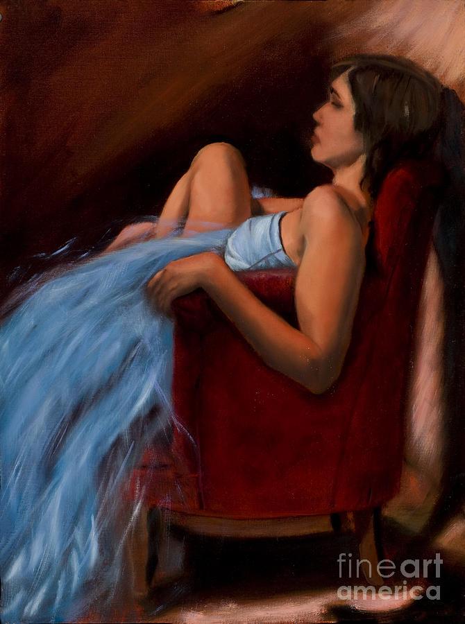 Female Painting - Blue Dress - 2009 by Serena Van Vranken