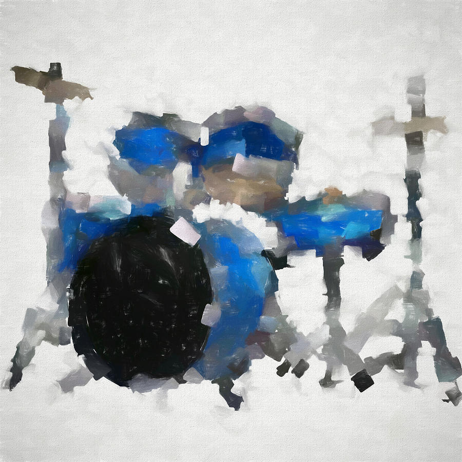 Blue Drums Painting - Blue Drums Abstract by Dan Sproul