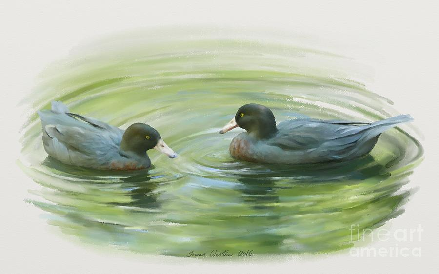 Blue Duck Painting - Blue Ducks  by Ivana Westin