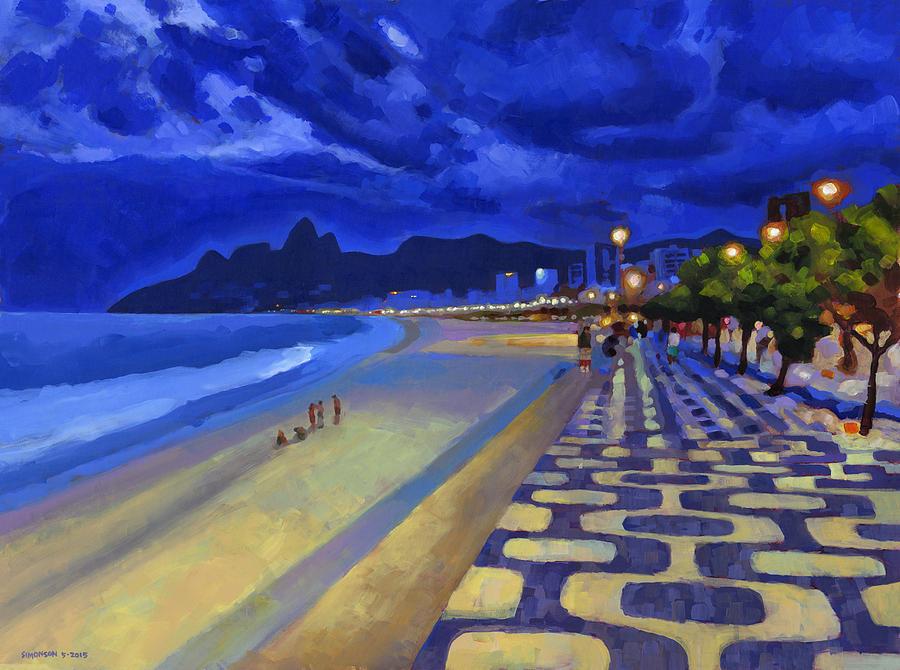 Ipanema Painting - Blue Dusk Ipanema by Douglas Simonson