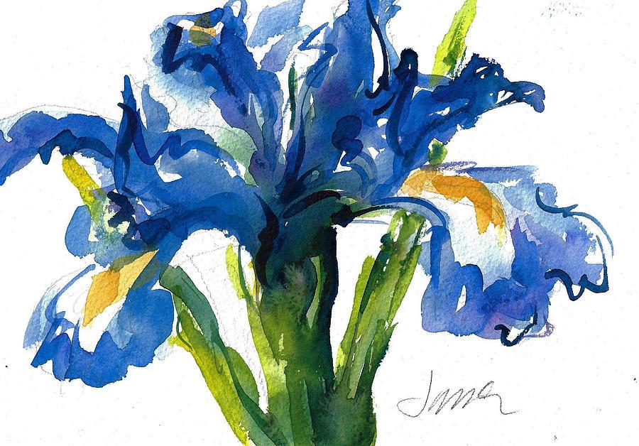 Dutch Iris Painting - Blue Dutch Iris For Kappa Kappa Gamma by Jacki Kellum