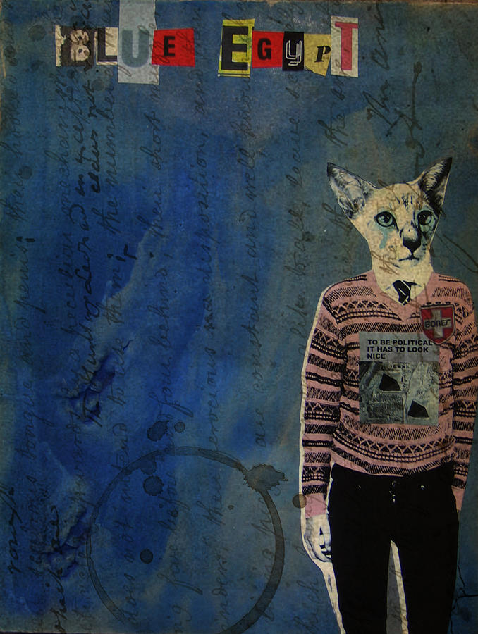 Cat Mixed Media - Blue Egypt by Adam Kissel
