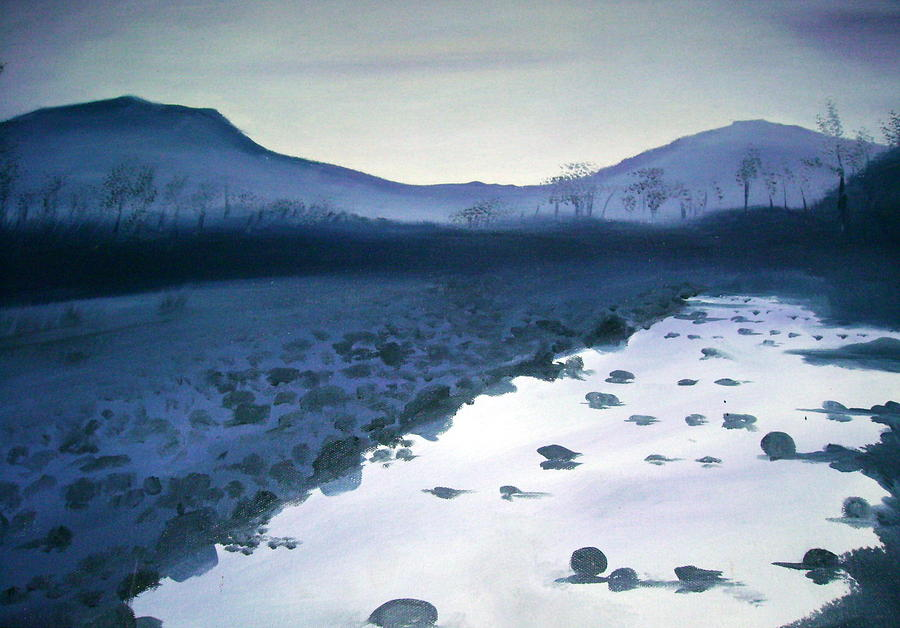 Landscape Painting - Blue Evening by Prashant Vasava