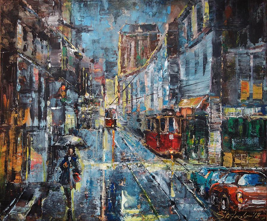 Cityscape Painting - Blue Evening by Stefano Popovski
