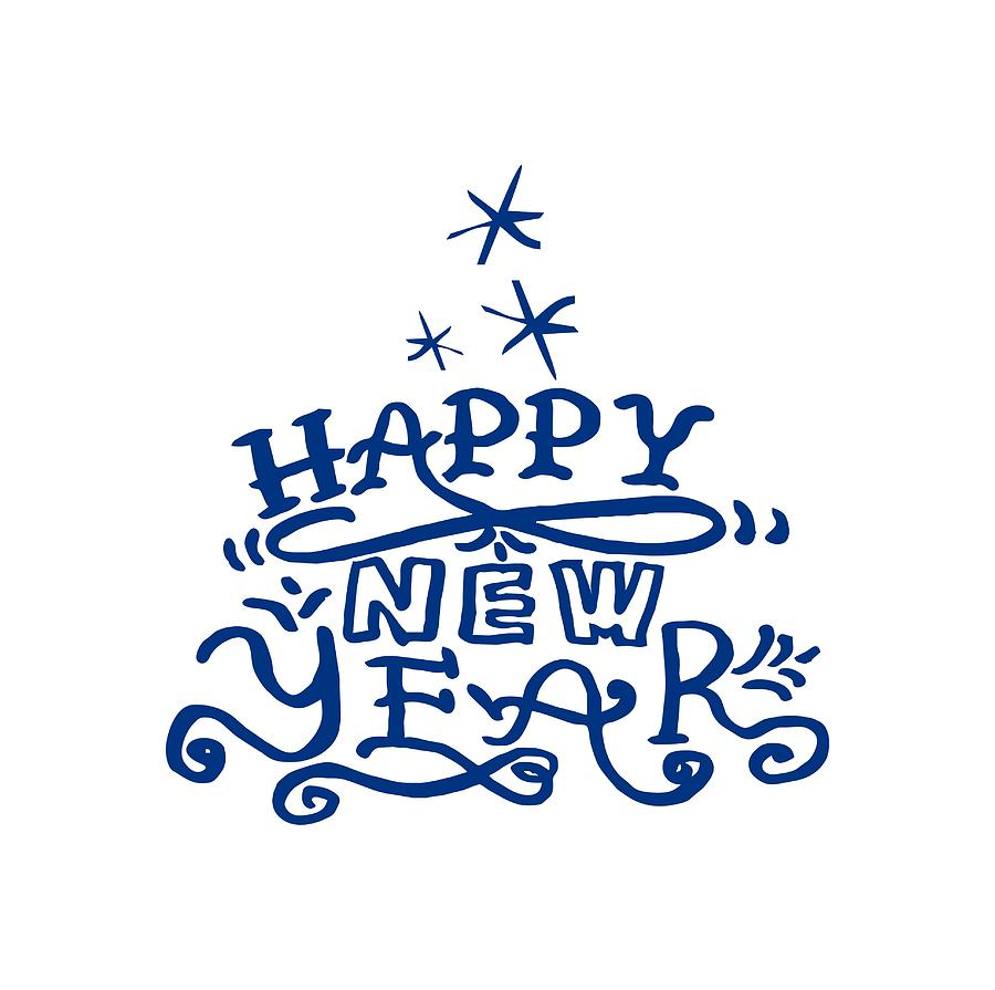 Blue Evergreen With Happy New Year Phrase. Lettering. Drawing by ...