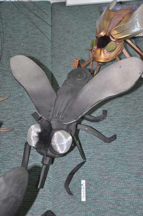 Green Sculpture - Blue Eyed Black Fly by Michael Jude Russo