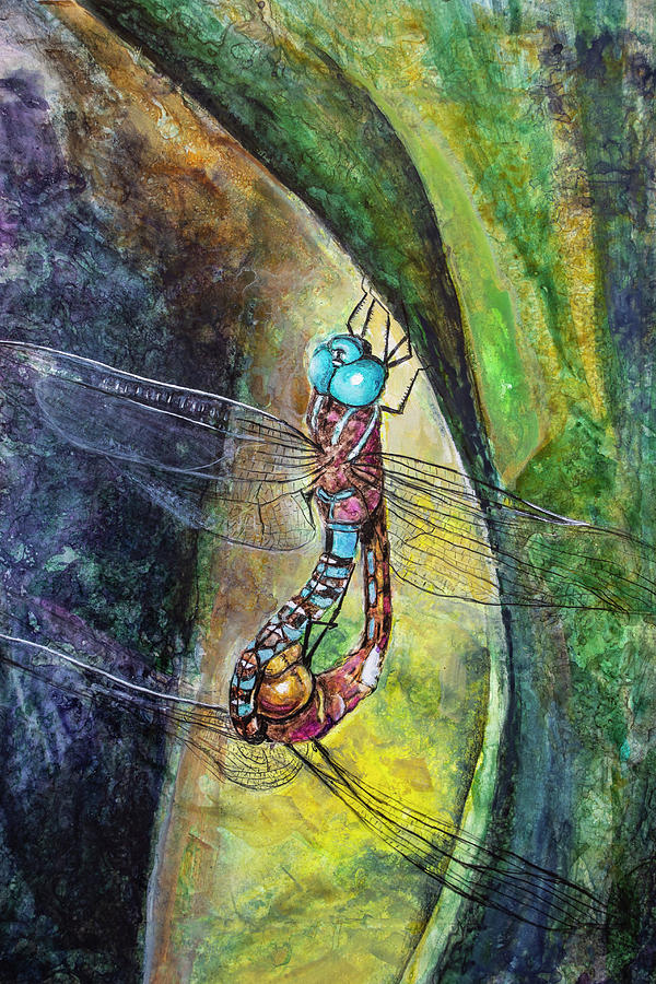 Painting Painting - Blue-eyed Darner Mating Wheel by Rick Mosher