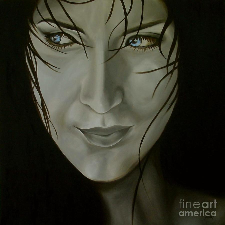 Girl Painting - Blue-eyed Girl by Jindra Noewi