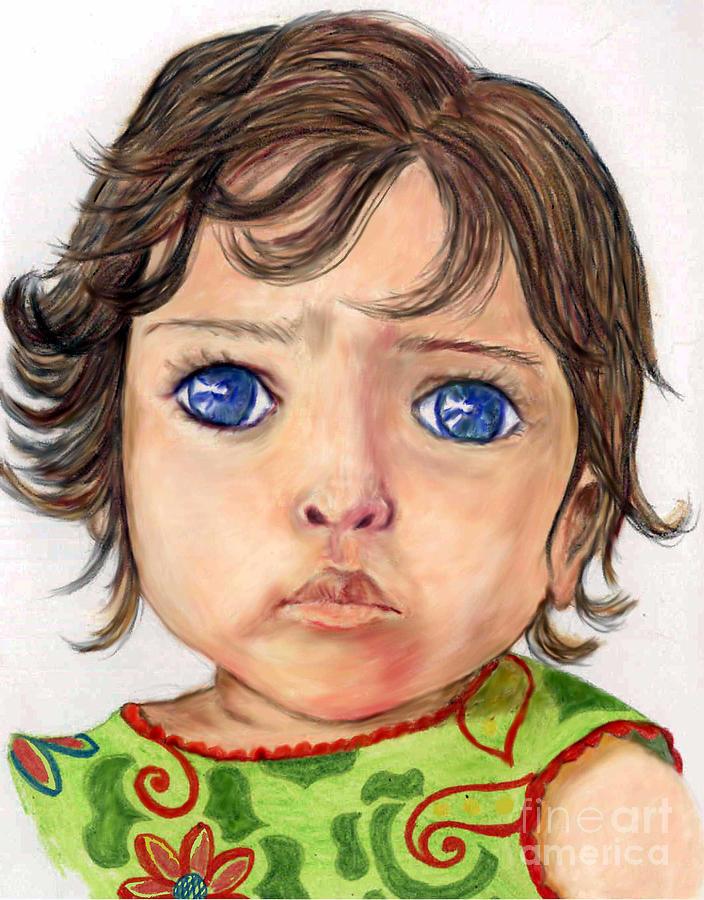 Lenora Drawing - Blue Eyed Girl by Lenora Brown