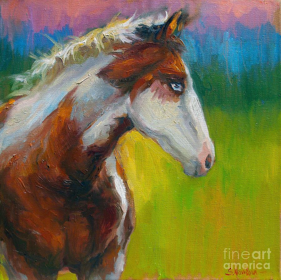 Russian Artist Painting - Blue-eyed Paint Horse Oil Painting Print by Svetlana Novikova