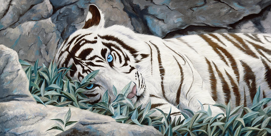Tiger Painting - Blue Eyes by Lucie Bilodeau