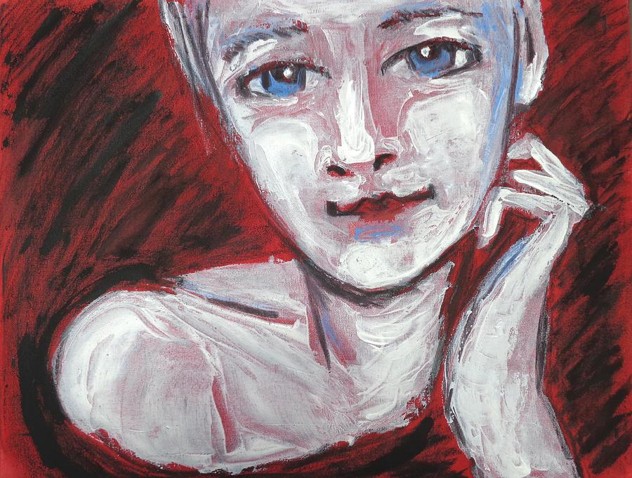 Blue Eyes Painting - Blue Eyes - Portrait Of A Woman by Carmen Tyrrell