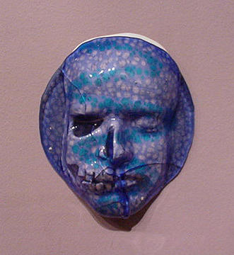 Fused Sculpture - Blue Face by David Morgan