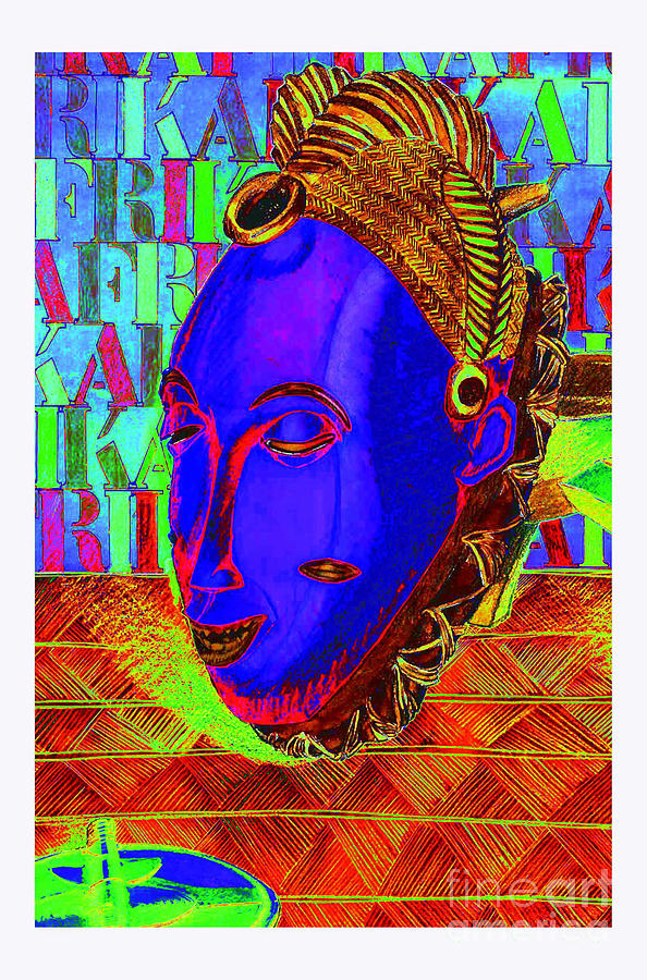 Tribal Mixed Media - Blue Faced Mask by Ronald Rosenberg
