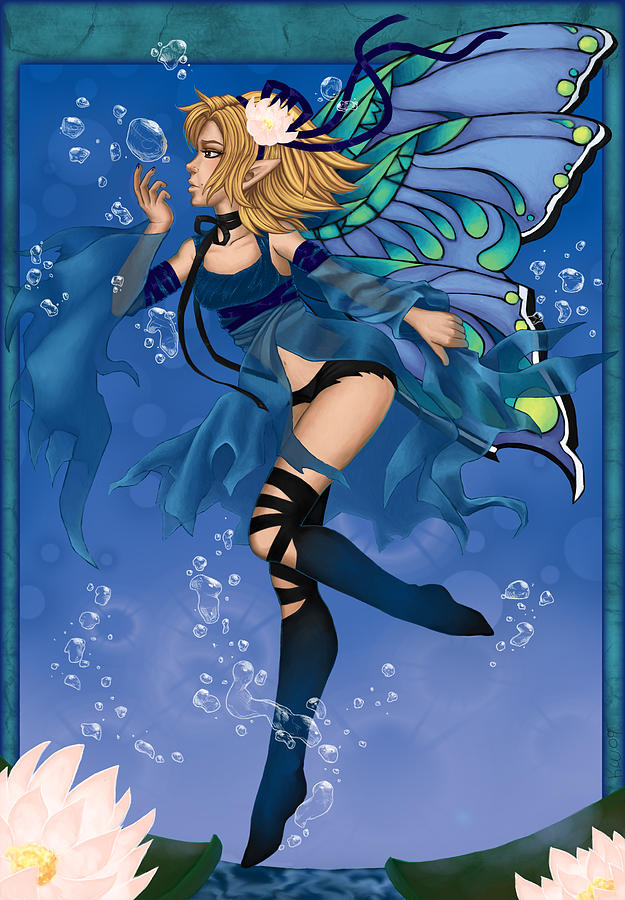 Water Digital Art - Blue Fairy Of Water by KimiCookie Williams