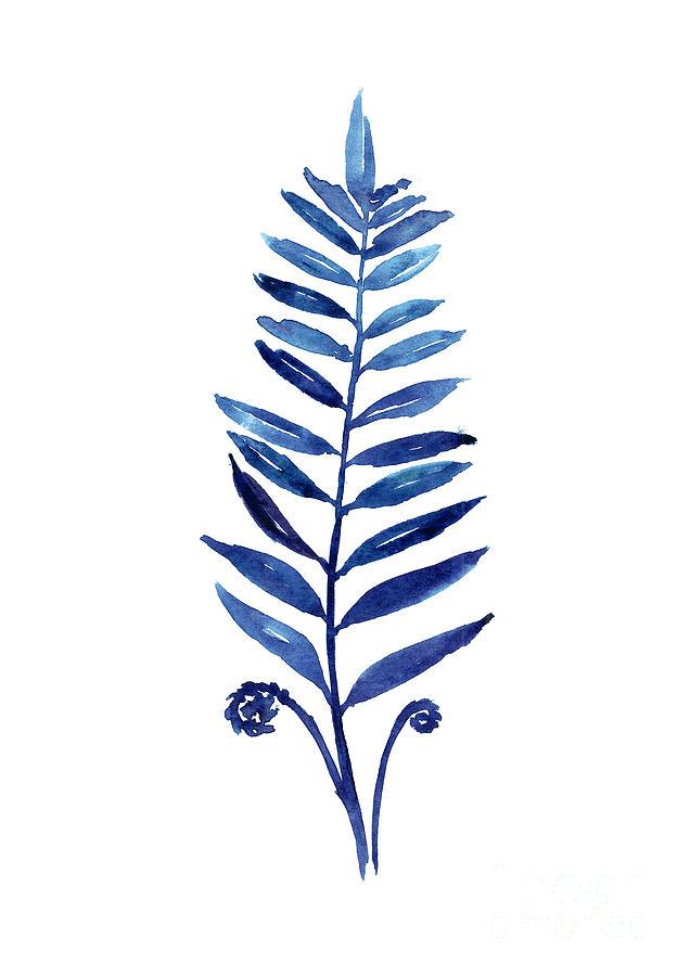 Blue Fern Watercolor Poster Painting By Joanna Szmerdt
