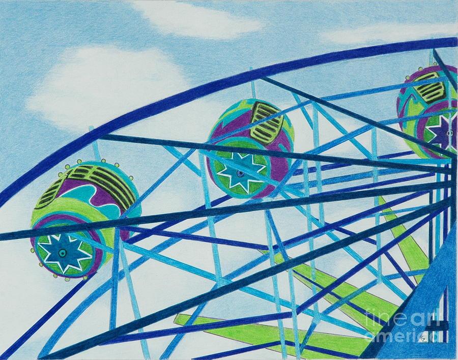 Ferris Wheel Drawing - Blue Ferris Wheel by Glenda Zuckerman