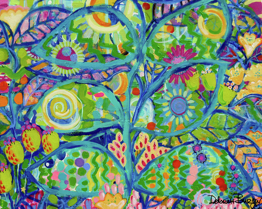 Garden Painting - Blue Fish Forest by Deborah Burow
