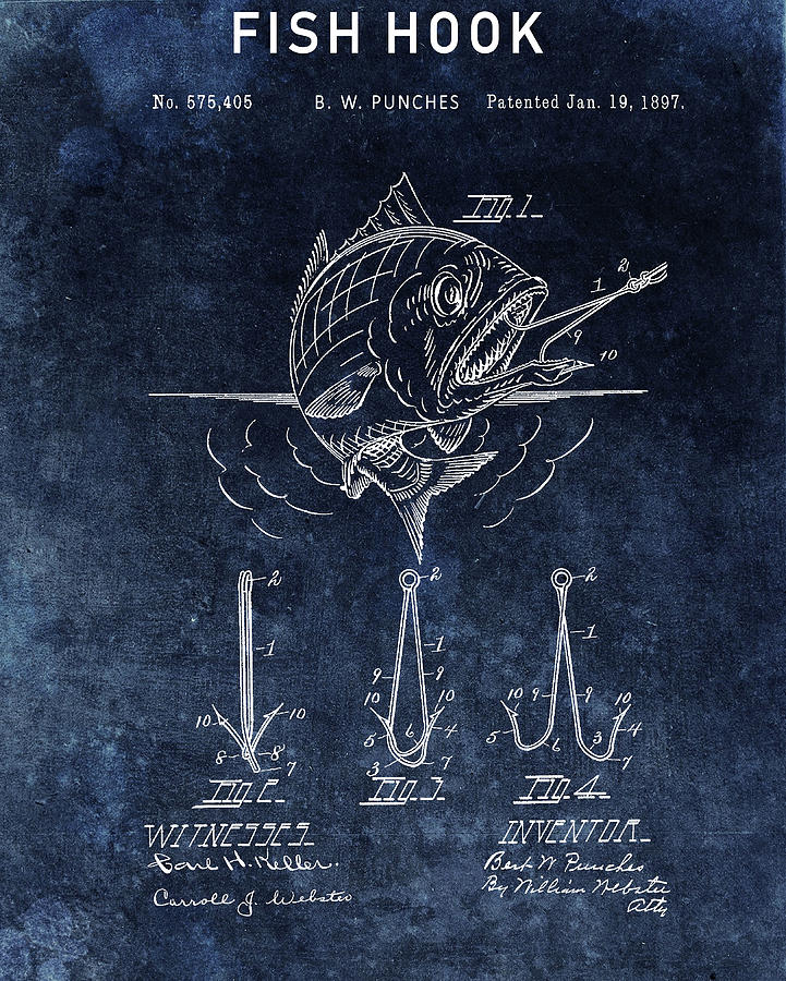 Fish Hook Drawing - Blue Fish Hook Patent by Dan Sproul