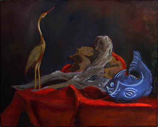 Crane Painting - Blue Fish by Libby  Cagle