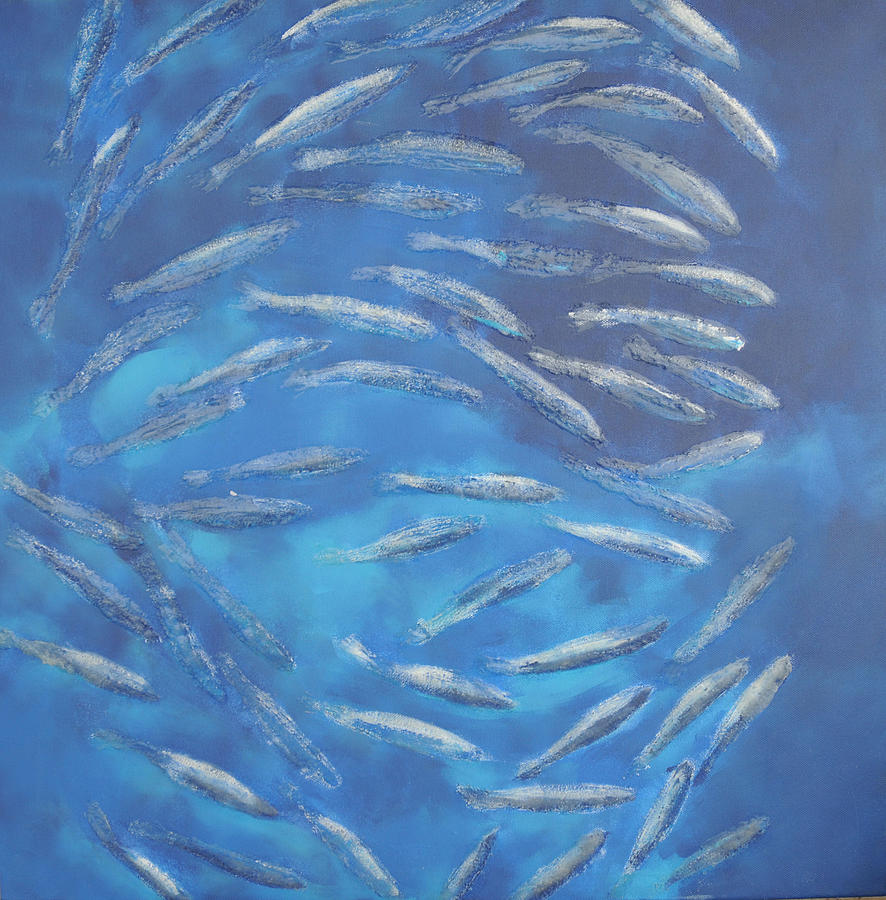 Fishes Painting - Blue Fishes by Sirpa Mononen
