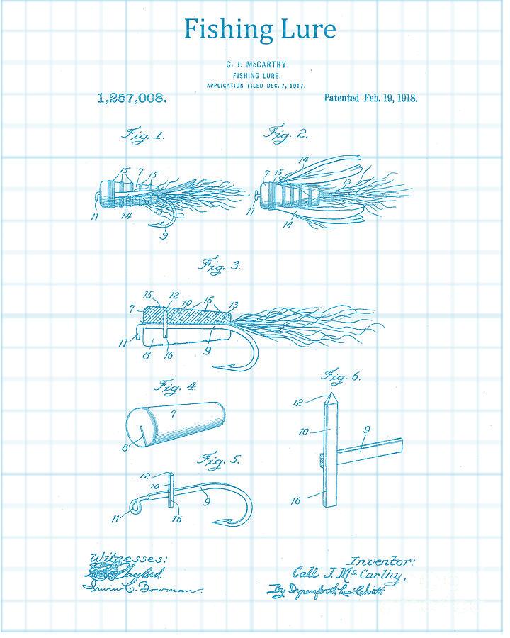 Blue Fishing Lure Patent Digital Art by Jennifer Capo
