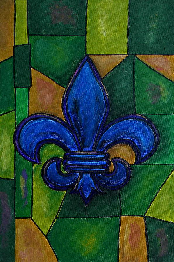 Fleur De Lis Painting - Blue Fleur De Lis by Patti Schermerhorn