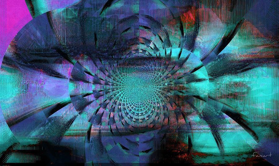 Fania Simon Mixed Media - Blue Fleur by Fania Simon