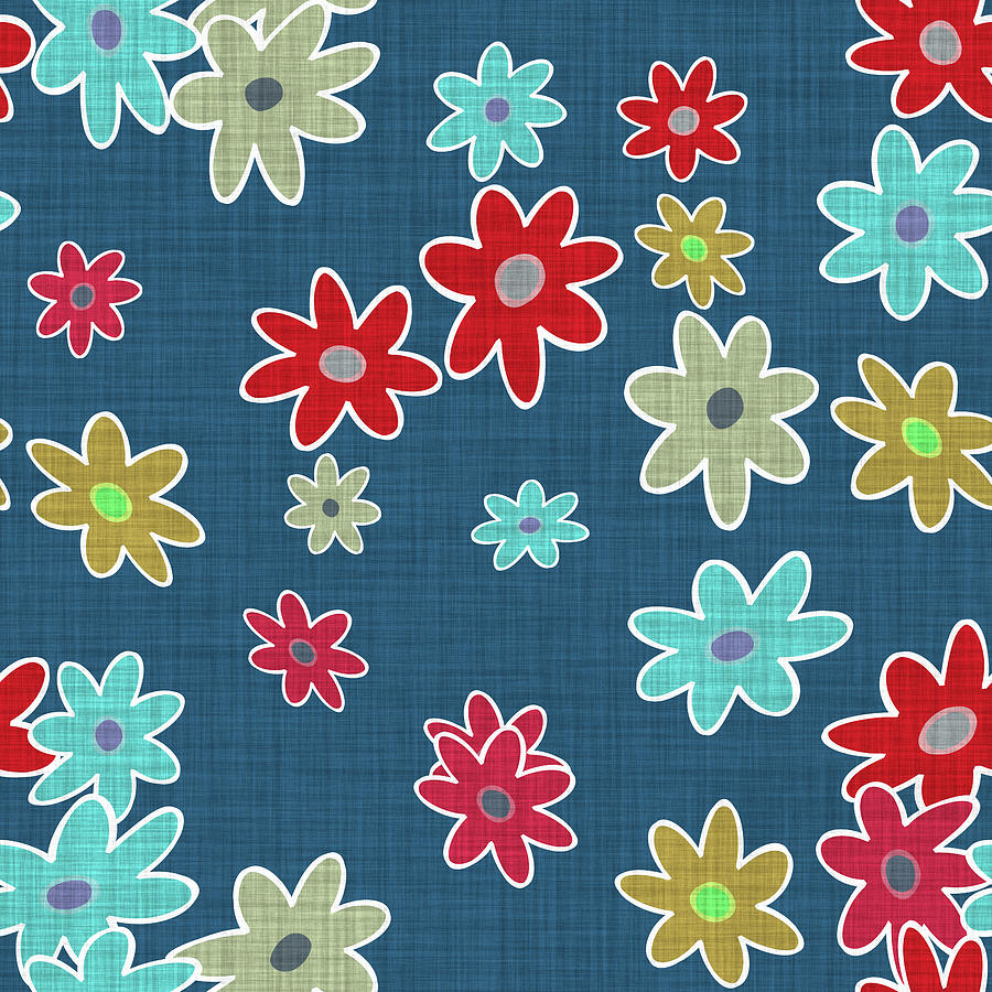 Colorful Digital Art - Blue Floral Cloth Modern Decor Design by Georgiana Romanovna