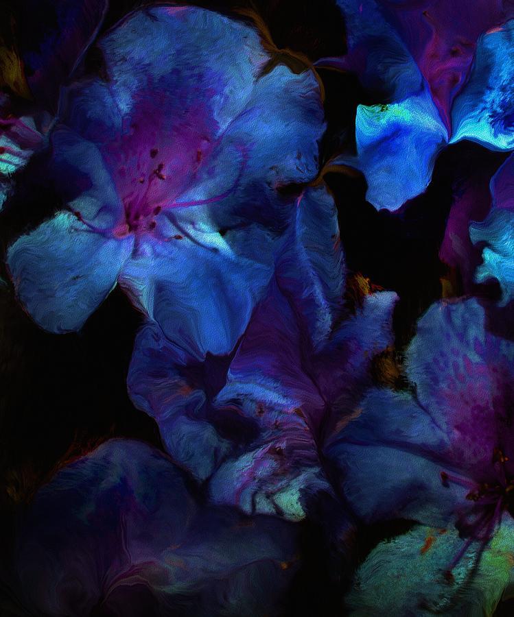 Floral Digital Art - Blue Floral Fantasy by David Lane