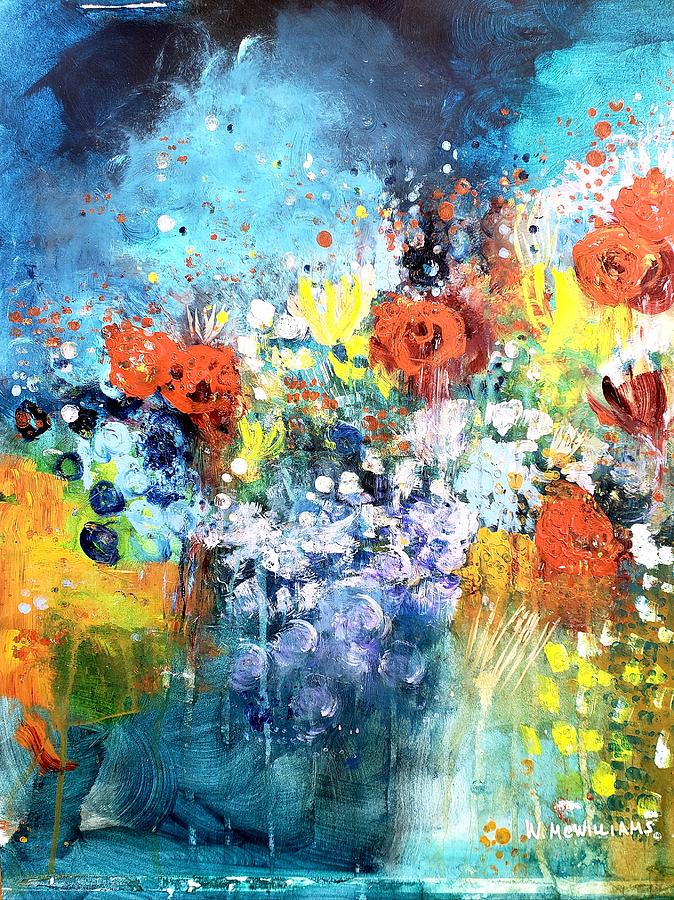 Blue Floral Painting by Wendy Mcwilliams
