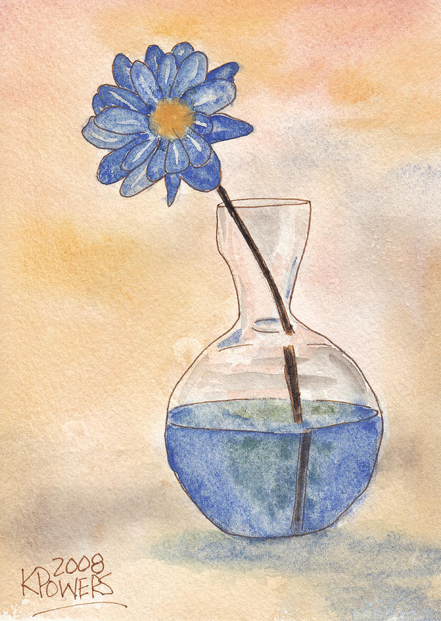 Flower Painting - Blue Flower And Glass Vase Sketch by Ken Powers