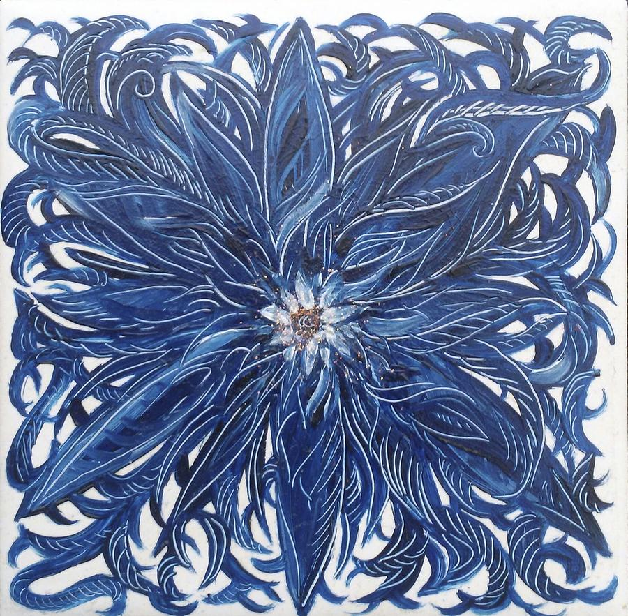 Blue Painting - Blue Flower  by Karen Doyle