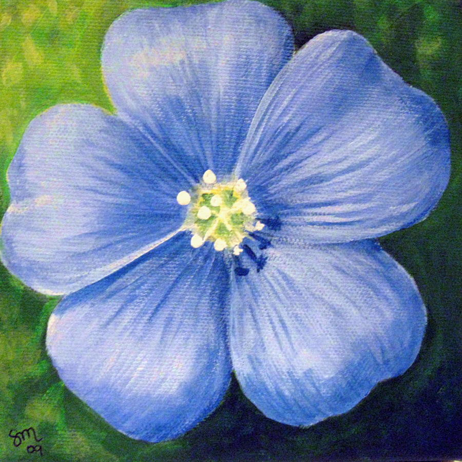 Blue flower painting by sharon marcella marston for Blue paintings on canvas