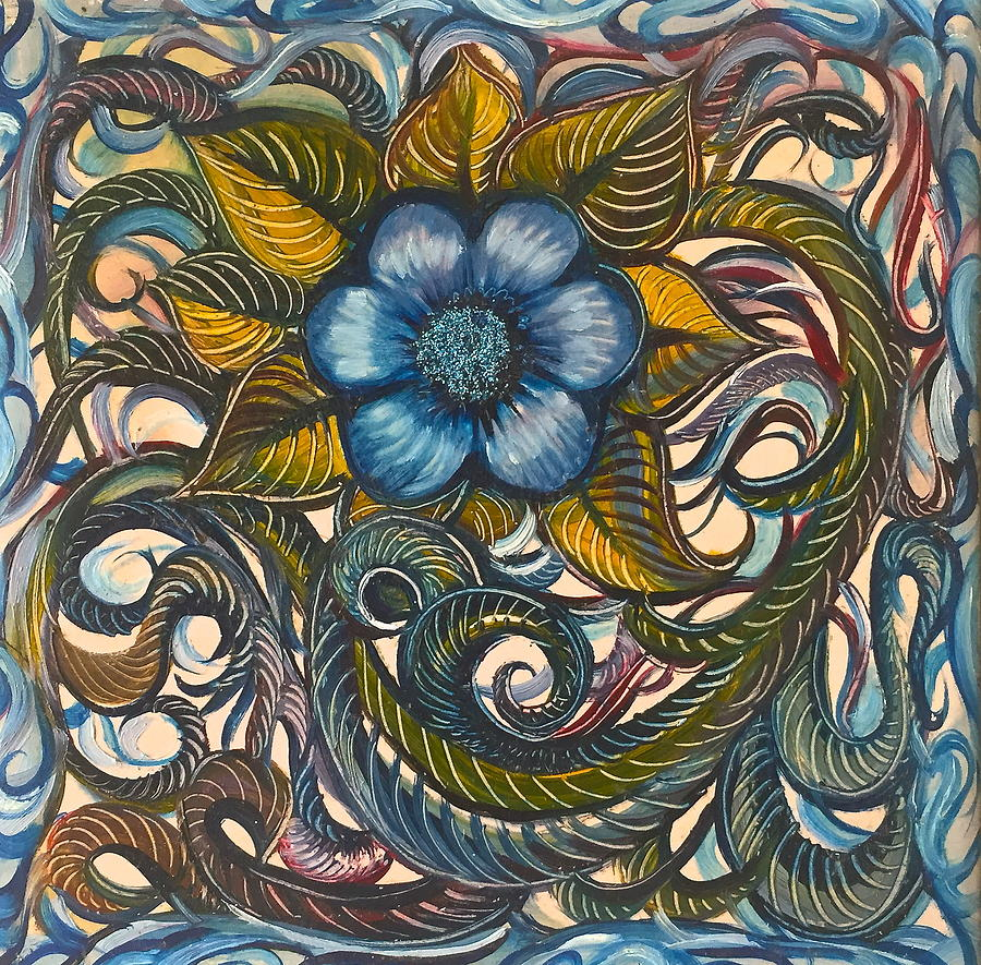 Blue Painting - Blue Flower with Yellow Leaves  by Karen Doyle