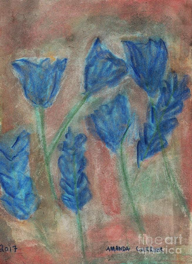 Flowers Painting - Blue Flowers by Amanda Currier