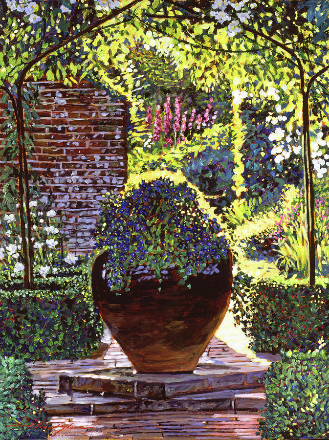 Gardens Painting - Blue Flowers by David Lloyd Glover