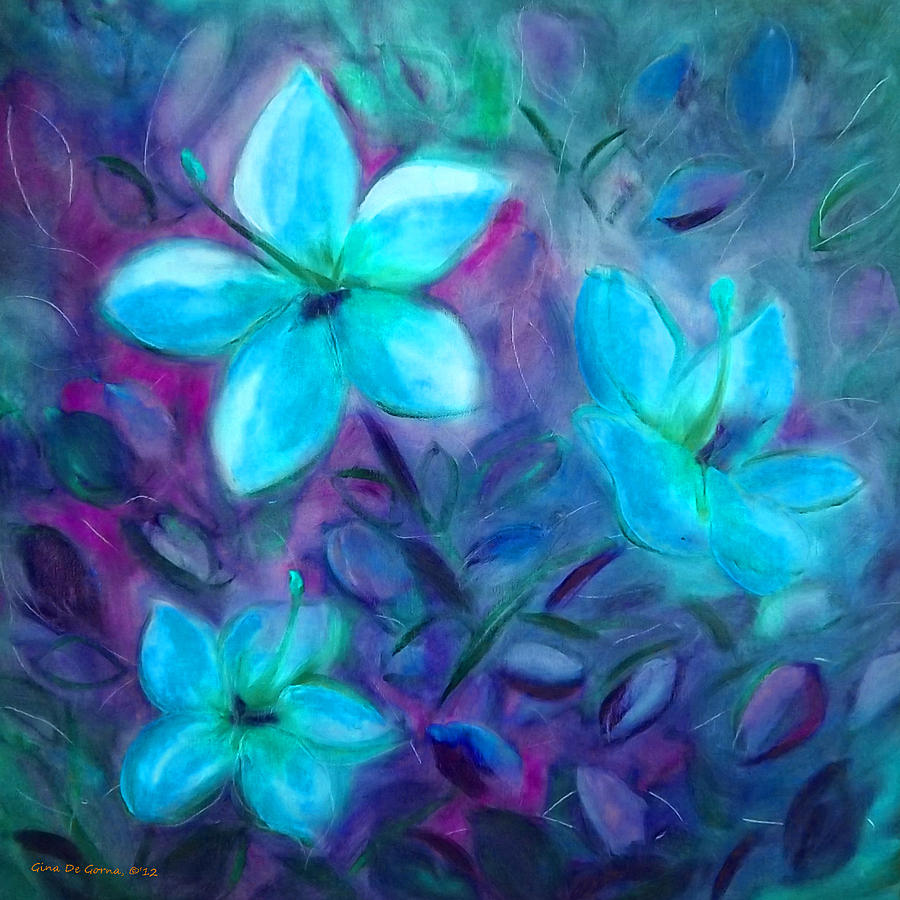 Blue flowers painting by gina de gorna flower painting blue flowers by gina de gorna izmirmasajfo