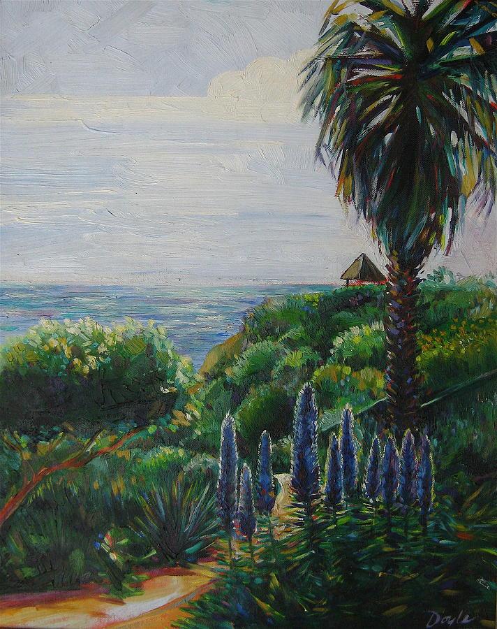 Beach Painting - Blue Flowers by Karen Doyle