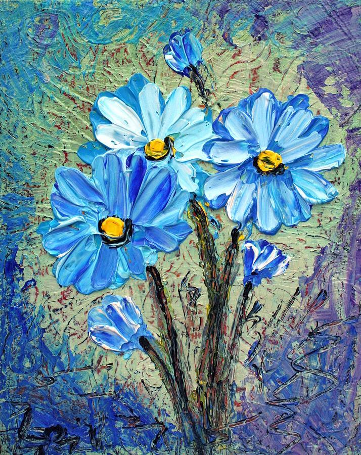 Flowers Painting - Blue Flowers  by Luiza Vizoli
